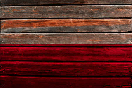 wooden floor: Flag of Poland on wood wall background. Stock Photo