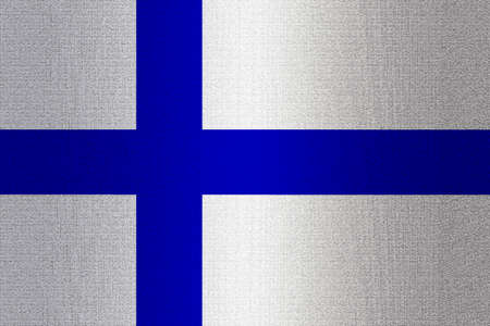 ice brick: Flag of Finland on a stone wall background. Stock Photo