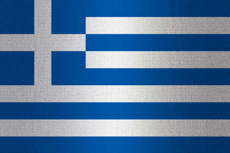 working stiff: Flag of Greece on a stone wall background. Stock Photo