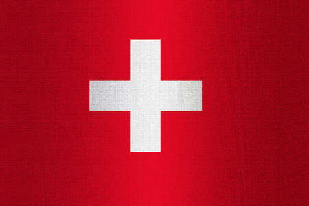 working stiff: Flag of Switzerland on a stone wall background.