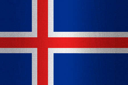 ice brick: Flag of Iceland on a stone wall background.