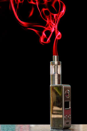 electronic: 3D electronic cigarette and smoke on the table rock on a black background.
