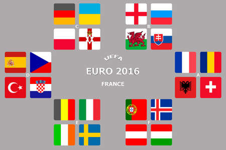 football european championship: Football European Championship Soccer final qualified countries. France Europe matches group stage participating teams. Stock Photo