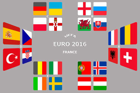 european championship: Football European Championship Soccer final qualified countries. France Europe matches group stage participating teams. Stock Photo