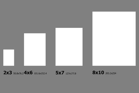 dimensions: Example dimensions of Photo paper sizes. Stock Photo