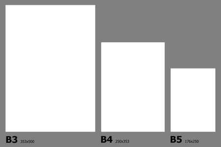 example: Example dimensions of International paper B series paper sizes.