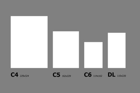 series: Example dimensions of International paper C series paper sizes. Stock Photo