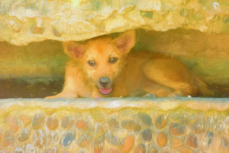 nook: Watercolor dog sleep in the rocky nook. Stock Photo