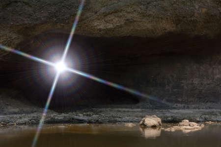 dark cave: The sun light through the dark cave.