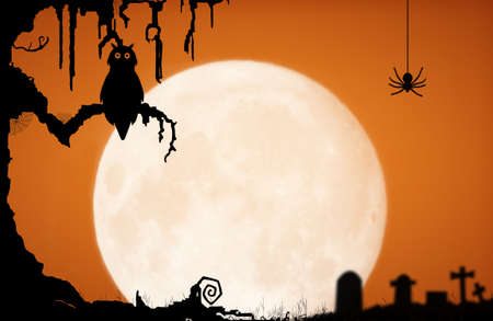 Halloween night background with moon, owl, spider, gravestone and old tree. Stock Photo