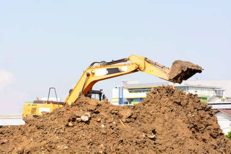 Bulldozer is working in the construction field. Stock Photo