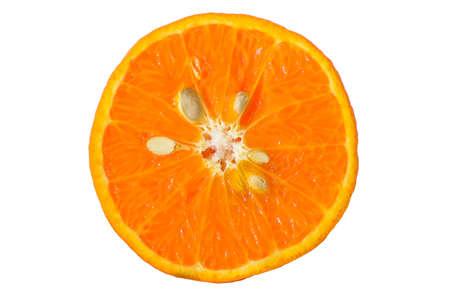 Orange shogun cut in half on a white background. Stock Photo