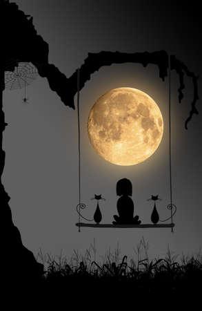 Halloween-Nacht-Hintergrund mit Mond, Spinne und das Mädchen und die zwei auf Schaukeln unter dem alten Baum sitzen Katzen. Standard-Bild