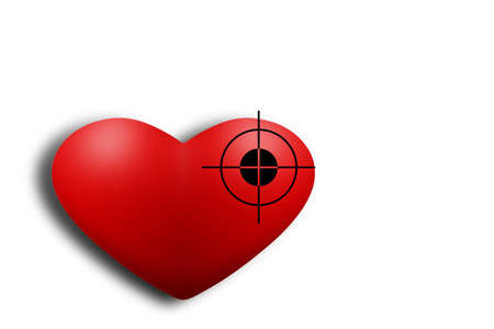 Valentine s Day style dark. Red heart exposed aiming to shoot. Stock Photo