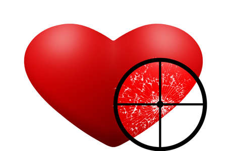 broken love: Valentine s Day style dark. Red heart was shot. Stock Photo