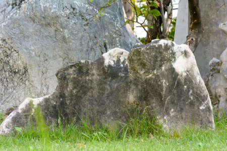A large stone use garden ornament. Its a Japanese style. Stock Photo