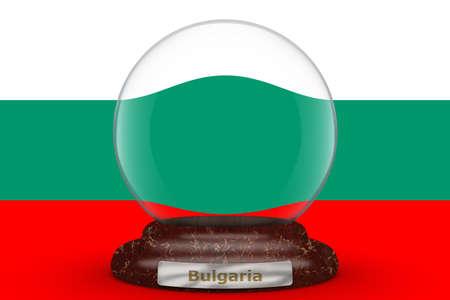 Flag of Bulgaria on a snow globe background.