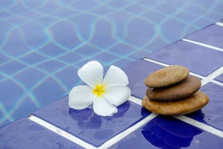 Plumeria-bloemen op een tegelvloer lagen naast het zwembad. Stockfoto