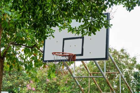 Basketball backboard in the park. It is public.