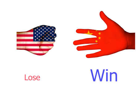Flags of USA and China on rock paper scissors shoot/usa china trade war concept. Фото со стока