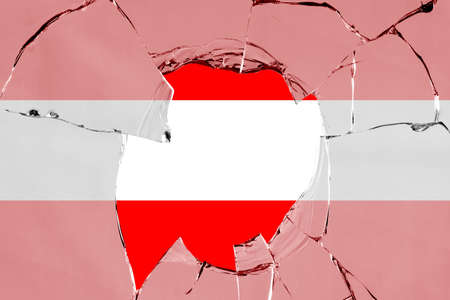 Flag of Austria on a on glass breakage.
