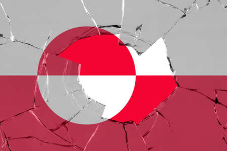 Flag of Greenland on on glass breakage.