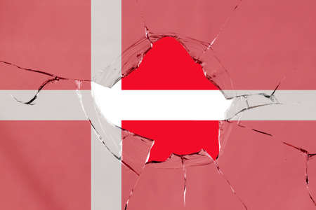Flag of Denmark on a on glass breakage.