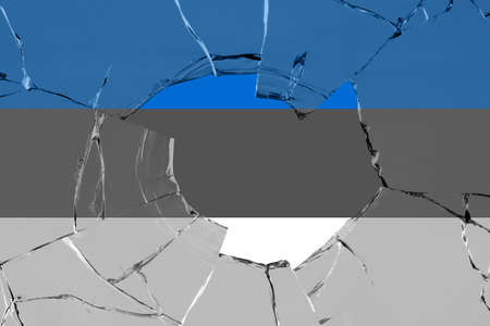 Flag of Estonia on a on glass breakage. 版權商用圖片