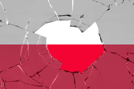 Flag of Poland on on glass breakage. Reklamní fotografie