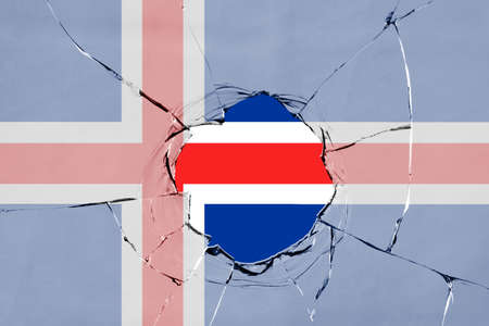 Flag of Iceland on a on glass breakage.