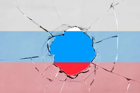 Flag of Russia on a on glass breakage.