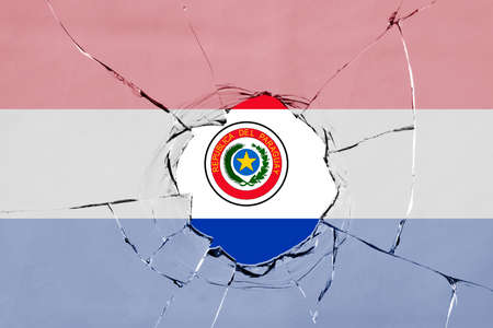 Flag of Paraguay on a on glass breakage.