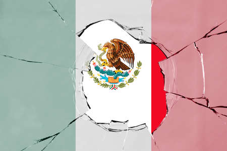 Flag of Mexico on a on glass breakage.