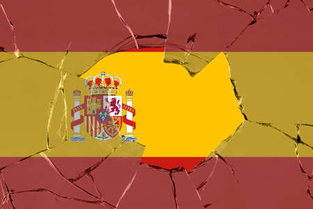 Flag of Spain on a on glass breakage.