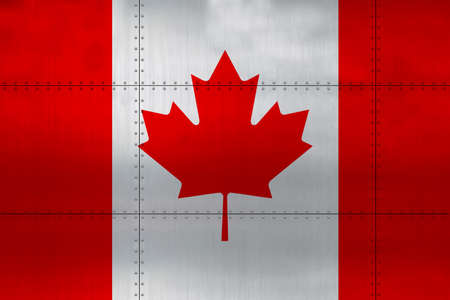 Flag of Canada on a metal wall background. Stok Fotoğraf