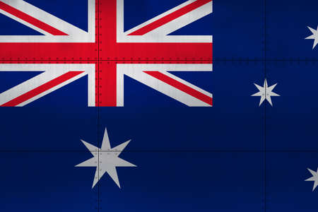 Flag of Australia on a metal wall background.