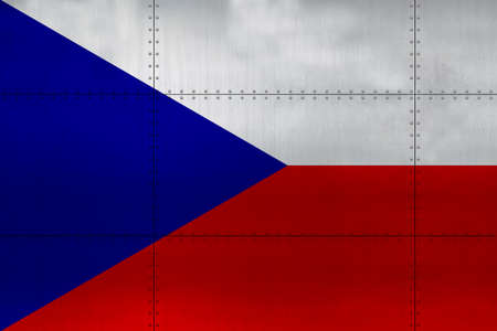Flag of Czech on a metal wall background.