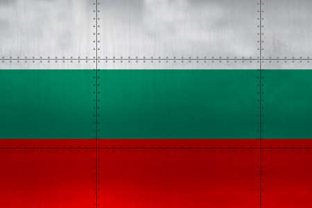 Flag of Bulgaria on a metal wall background. Stockfoto