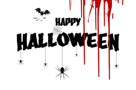 The Happy Halloween characters, spider and bat on a white background with blood flowing down.