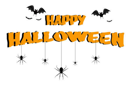 The Happy Halloween characters, spider and bat on a white background.