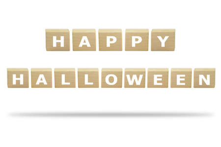 3D illustration Happy Halloween on the wooden box isolated on a white background. Banco de Imagens