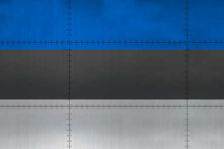 Flag of Estonia on a metal wall background.