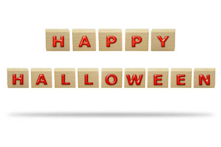 3D illustration Happy Halloween on the wooden box isolated on a white background. 写真素材