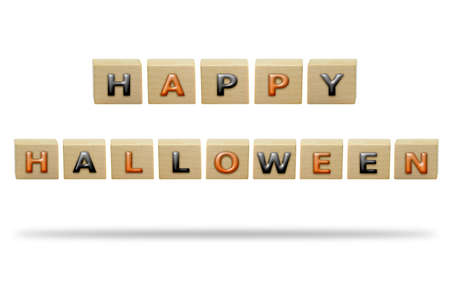 3D illustration Happy Halloween on the wooden box isolated on a white background. Stok Fotoğraf