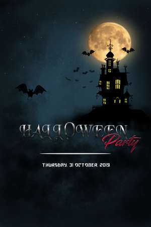 Halloween Concept with moon, star, castle and bat in Fantasy Night on poster template. Фото со стока - 132118232