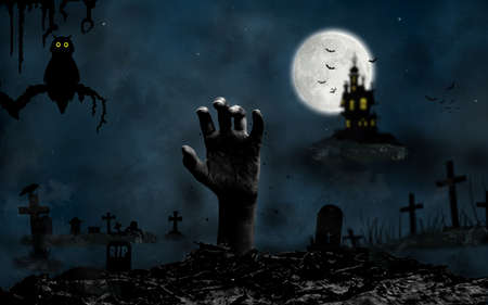 Halloween night background with hand rising from the ground in the cemetery, moon, castle, tee, owl and bats in Fantasy Night. Фото со стока - 132118489
