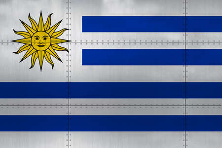 Flag of Uruguay on a metal wall background.