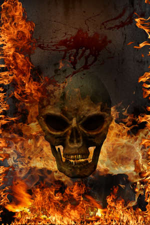 3D skulls - burning fire and flames. Halloween Concept background. Stockfoto