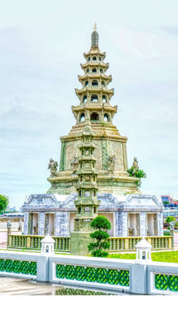 One landmark of Wat Kanlayanamit Woramahawihan in Bangkok, Thailand. A place everyone in every religion can be viewed.
