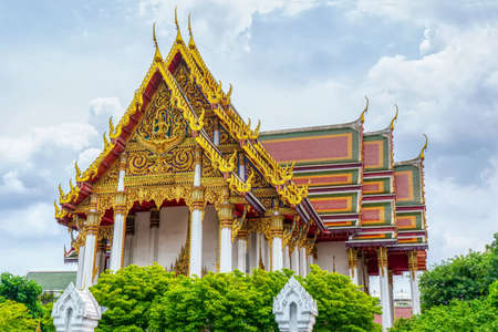 One landmark of Wat Rajaburana Ratchaworaviharn in Bangkok, Thailand. A place everyone in every religion can be viewed.